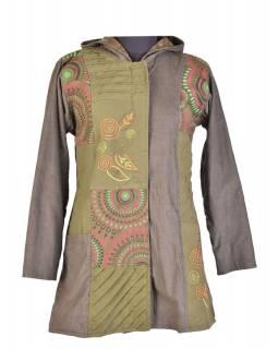 Khaki kabát s kapucí a potiskem Mandal, kombinace manžestr-bavlna, výšivka