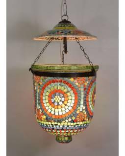 Skleněná mozaiková lampa, multibarevná, ruční práce, 24x24x30cm