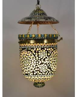 Skleněná mozaiková lampa, multibarevná, ruční práce, antik patina, 22x22x26cm