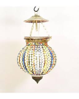 Skleněná mozaiková lampa, multibarevná, ruční práce, antik patina, 18x18x24cm