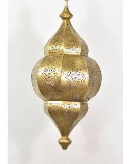 Lampa v orientálním stylu s jemným vzorem, zlatá, uvnitř fialová, 25x25x50cm