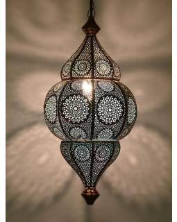 Lampa v orientálním stylu s jemným vzorem, měděná, uvnitř modrá, 25x25x50cm