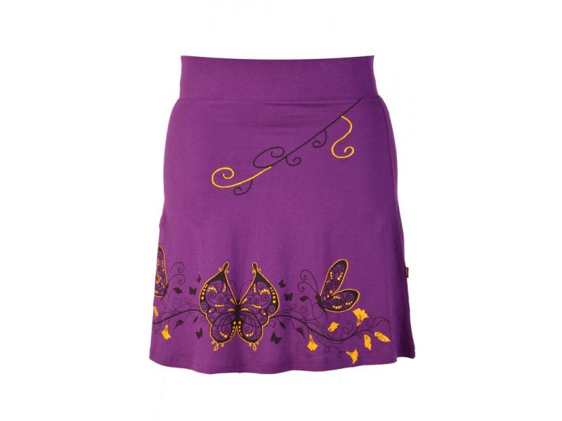 """Krátká fialová sukně """"Buttefly"""", potisk a výšivka, elastický pas"""