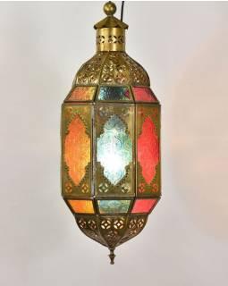 Arabská lampa, multibarevná, mosaz, ruční práce, 14x14x40cm