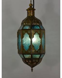 Arabská lampa, modrá, mosaz, ruční práce, 14x14x40cm