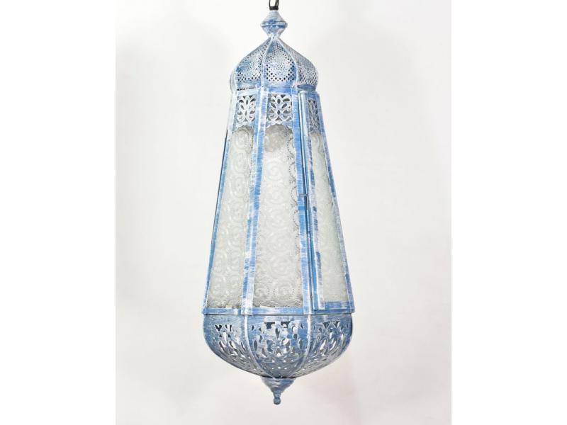 Arabská lampa, bílá patina, ruční práce, 26x26x60cm