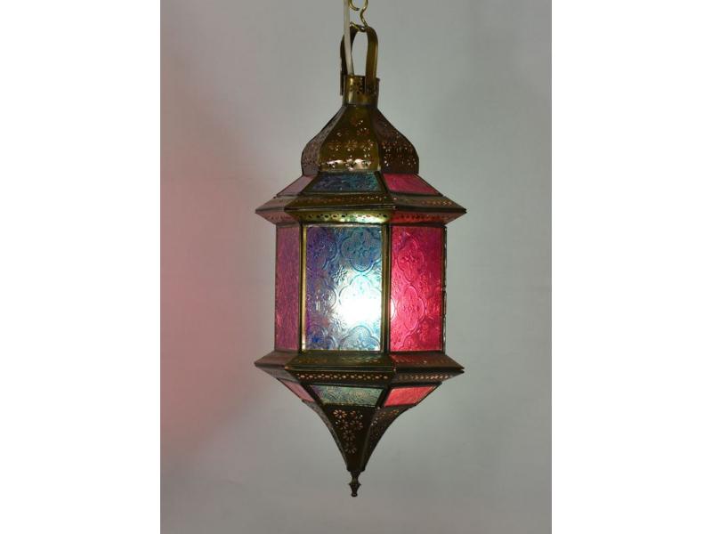 Arabská lampa, multibarevná, mosaz, ruční práce, 19x19x37cm