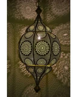 Orientální lampa s jemným vzorem, zlatá, uvnitř žlutá, 30x30x63cm