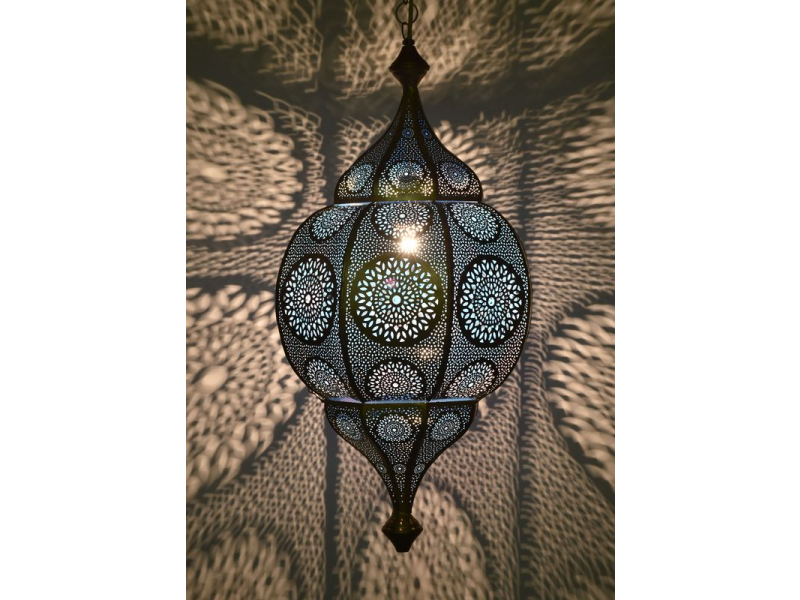 Orientální lampa s jemným vzorem, zlatá, uvnitř modrá, 30x30x63cm