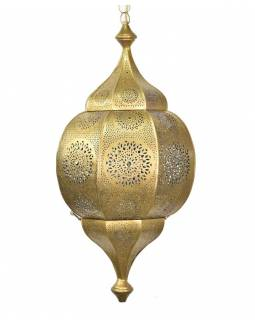 Orientální lampa s jemným vzorem, zlatá, uvnitř modrá, 30x30x65cm