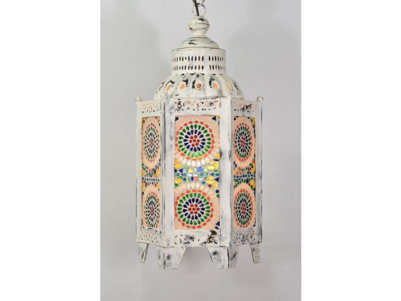 Kovová lucerna, bílá patina, barevná mozaika, 26x26x60cm