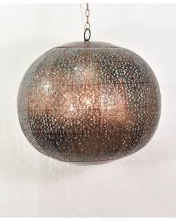 Kovová lampa v arabském stylu, měděná, uvnitř tyrkysová, 40x40x40cm