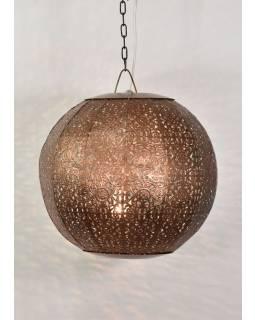 Kovová lampa v arabském stylu, měděná, uvnitř tyrkysová, 35x35x35cm