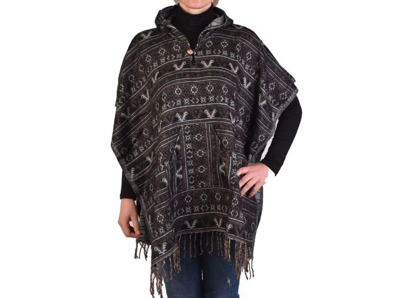 Barevné pončo s kapucí a třásněmi, vzor mini aztec, černá