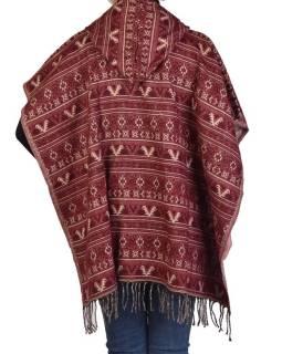 Barevné pončo s kapucí a třásněmi, vzor mini aztec, vínová