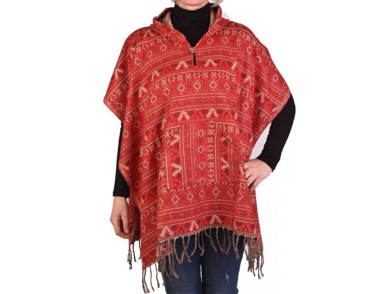 Barevné pončo s kapucí a třásněmi, vzor mini aztec, červená