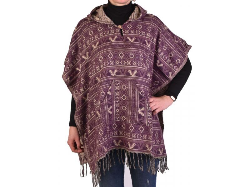 Barevné pončo s kapucí a třásněmi, vzor mini aztec, fialová