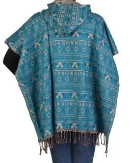 Barevné pončo s kapucí a třásněmi, vzor mini aztec, tyrkysová
