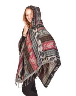 Barevné pončo s kapucí a třásněmi, vzor aztec, šedo-růžové