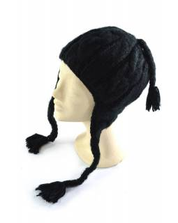 Čepice s ušima, dámská, černá, proplétaný design, podšívka