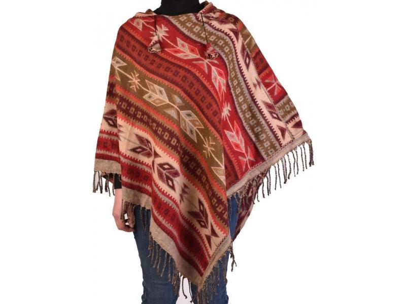 Barevné pončo s kapucí a třásněmi, vzor aztec, bežovo-červené