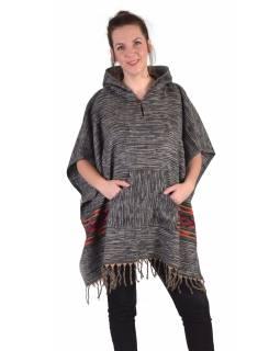 Barevné pončo s kapucí a třásněmi, vzor aztec, černé