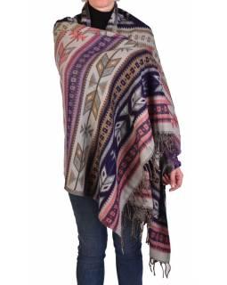 Velký zimní šál s geometrickým vzorem, růžovo-šedá, 205x90cm