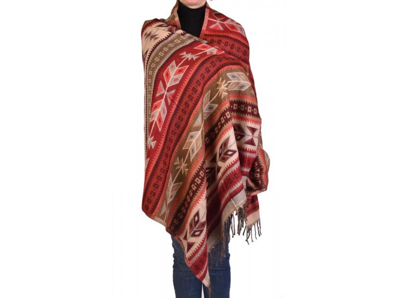 Velký zimní šál s geometrickým vzorem, béžovo-vínová, 205x90cm