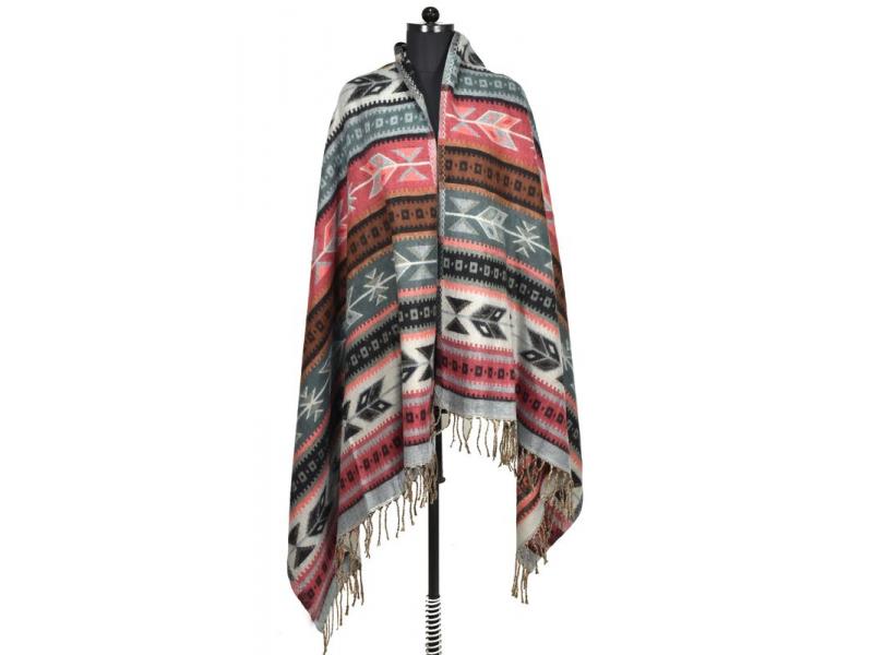 Velký zimní šál s geometrickým vzorem, šedo-růžová, 205x90cm