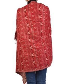 Velký zimní šál s  drobným geometrickým vzorem, červená, 205x90cm
