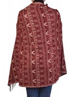 Velký zimní šál s  drobným geometrickým vzorem, vínová, 205x90cm