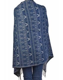 Velký zimní šál s  drobným geometrickým vzorem, modrá, 205x90cm