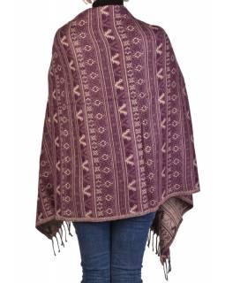 Velký zimní šál s  drobným geometrickým vzorem, fialová, 205x90cm