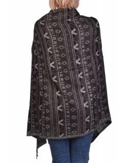 Velký zimní šál s  drobným geometrickým vzorem, černá, 205x90cm