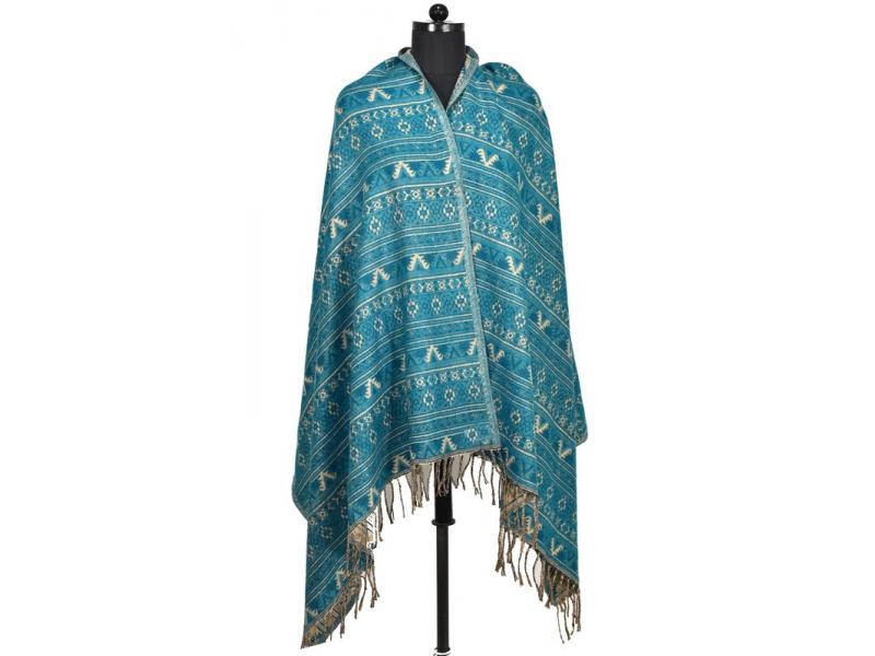 Velký zimní šál s  drobným geometrickým vzorem, tyrkysová, 205x90cm