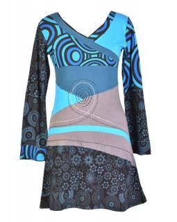 Šedo-modré šaty s dlouhým rukávem, výšivka, V výstřih