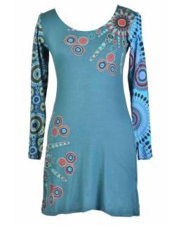 Modré šaty s dlouhým rukávem, Sun design, kulatý výstřih, potisk a výšivka