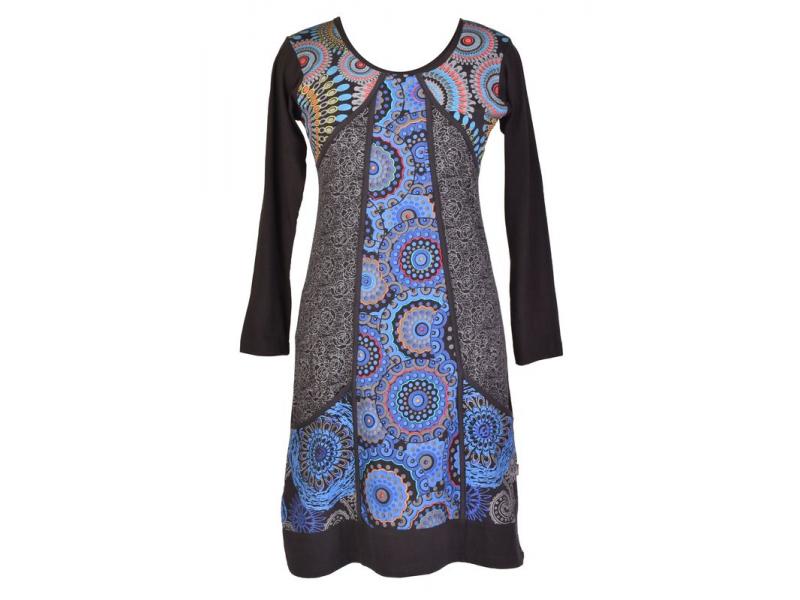 Černo-modré šaty s kapsami, mandalový potisk, kulatý výstřih