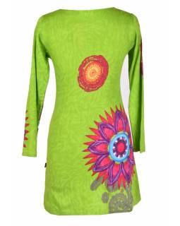"""Limetkově zelené šaty s dlouhým rukávem """"Mandala"""", barevný potisk, výstřih do V"""