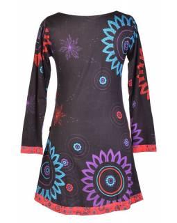 """Černo-červené šaty s dlouhým rukávem """"Flower Mandala"""", barevný potisk"""