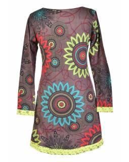 """Hnědo-zelené šaty s dlouhým rukávem """"Flower Mandala"""", barevný potisk"""