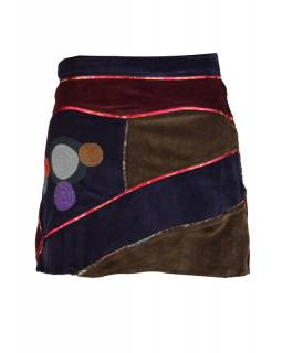 Krátká fialová sametová sukně s kruhovými aplikacemi a pletením, zip