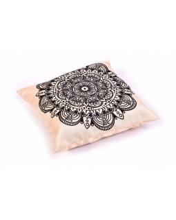 Povlak na polštář, krémový, mandala potisk, 40x40cm