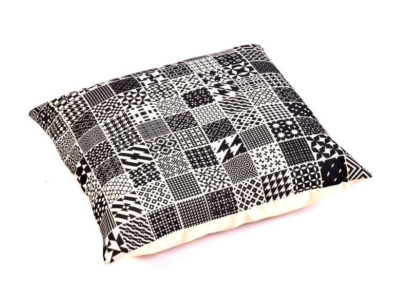 Povlak na polštář, krémový, černobílé čtverce, 40x40cm