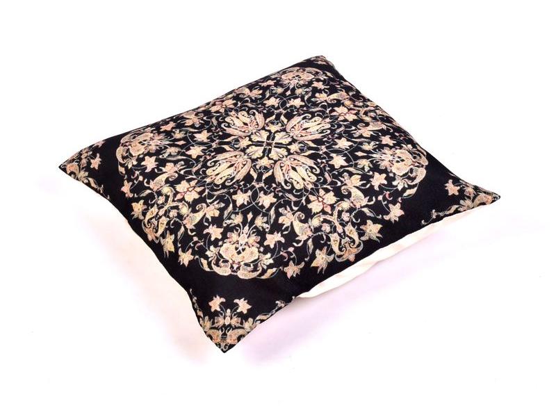 Povlak na polštář, krémový, černý mandala potisk, 40x40cm