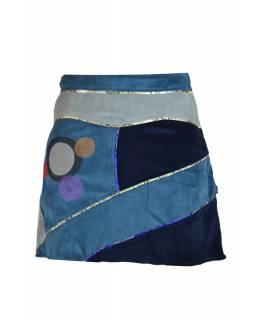 Krátká modrá sametová sukně s kruhovými aplikacemi a pletením, zip