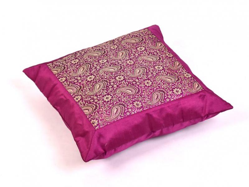 Povlak na polštář s výšivkou paisley, saténový, fialový, zip, 40x40cm