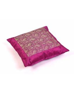 Fialový saténový povlak na polštář s výšivkou paisley, zip, 40x40cm