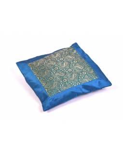 Modrý saténový povlak na polštář s výšivkou paisley, zip, 40x40cm
