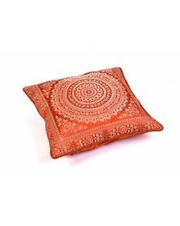 Hnědý saténový povlak na polštář s výšivkou mandala, zip, 40x40cm